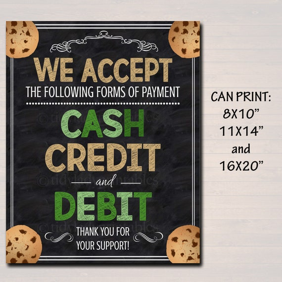 photograph about We Accept Credit Cards Printable Sign referred to as PRINTABLE Credit score Card Indicator, Fundraising Booth, Bake Sale