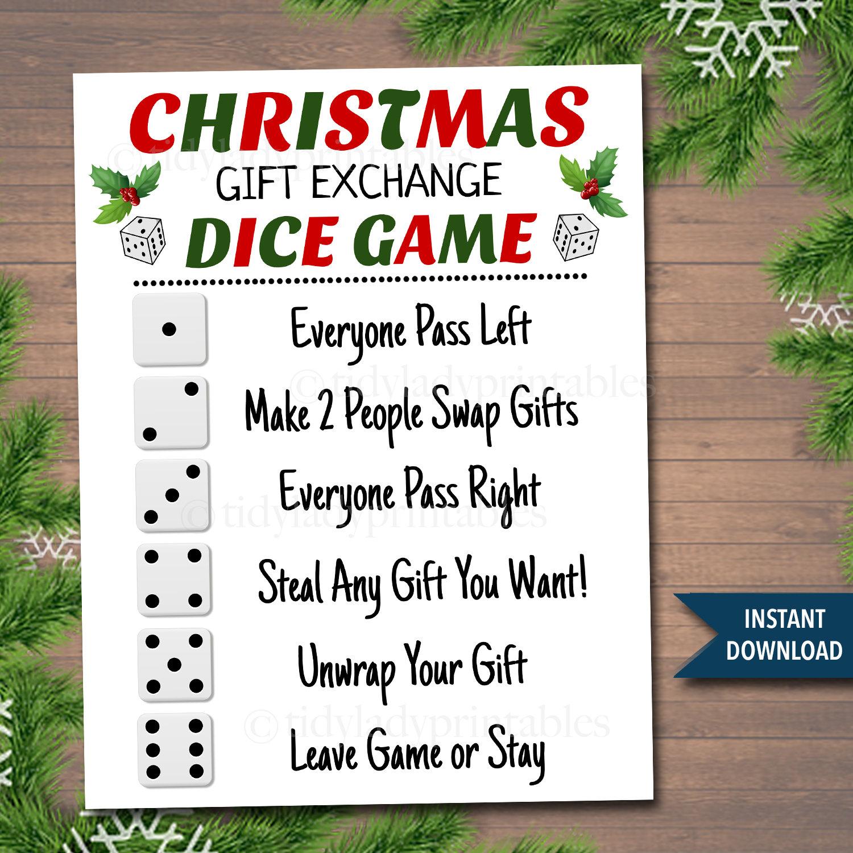 Printable Christmas Gift Exchange Dice Game Christmas Party Etsy