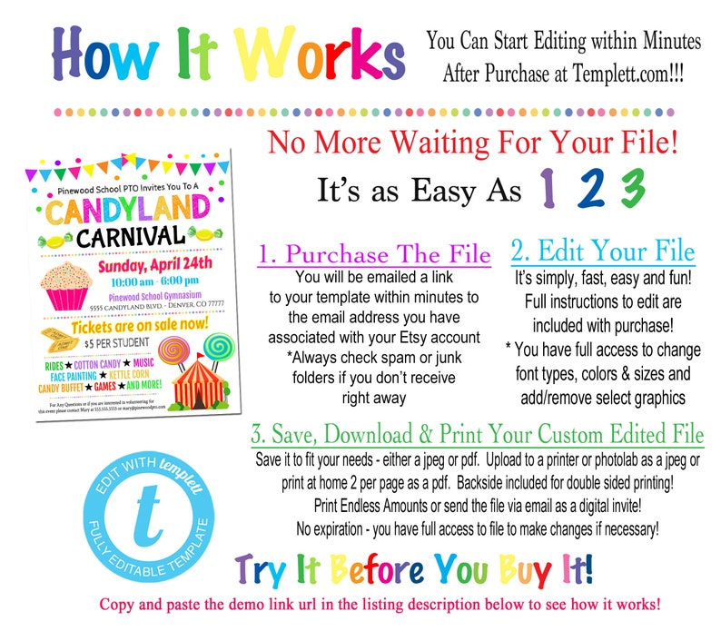 EDITABLE Candy Themed Carnival Flyer Printable PTA PTO Flyer, School Church  Benefit Fundraiser Event Poster, Digital Circus Party Invitation