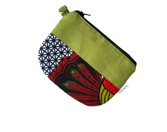 Green Small zipper coin purse, Ankara keychain coin pouch, small change purse, zippered pouch bag, mini zip coin purse, Eritrea Ethiopia