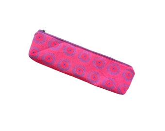 Pink Pencil Bag, Long Pencil Case, Shweshwe Long Pencil Pouch with zipper, pencil bags for teachers, knitting needle pouch Storage