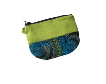 Shweshwe Small Zipper Coin purse, Green coin pouch, African small change purse, mini small coin purse, zip coin purse, mini coin purse,