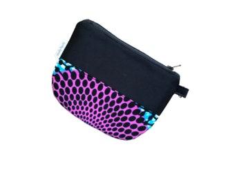 Purple Small Zipper Coin Purse, African Fabric keychain coin pouch, small change purse, mini small zip coin purse, mini coin purse,