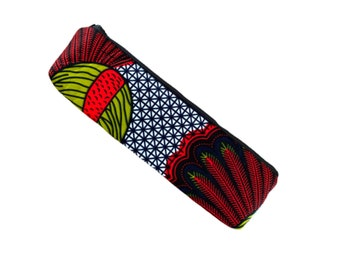Peacock Pencil Bag, Long Pencil Case, African Ankara Long Pencil Pouch with zipper, pencil bags for teachers, knitting needle pouch Storage