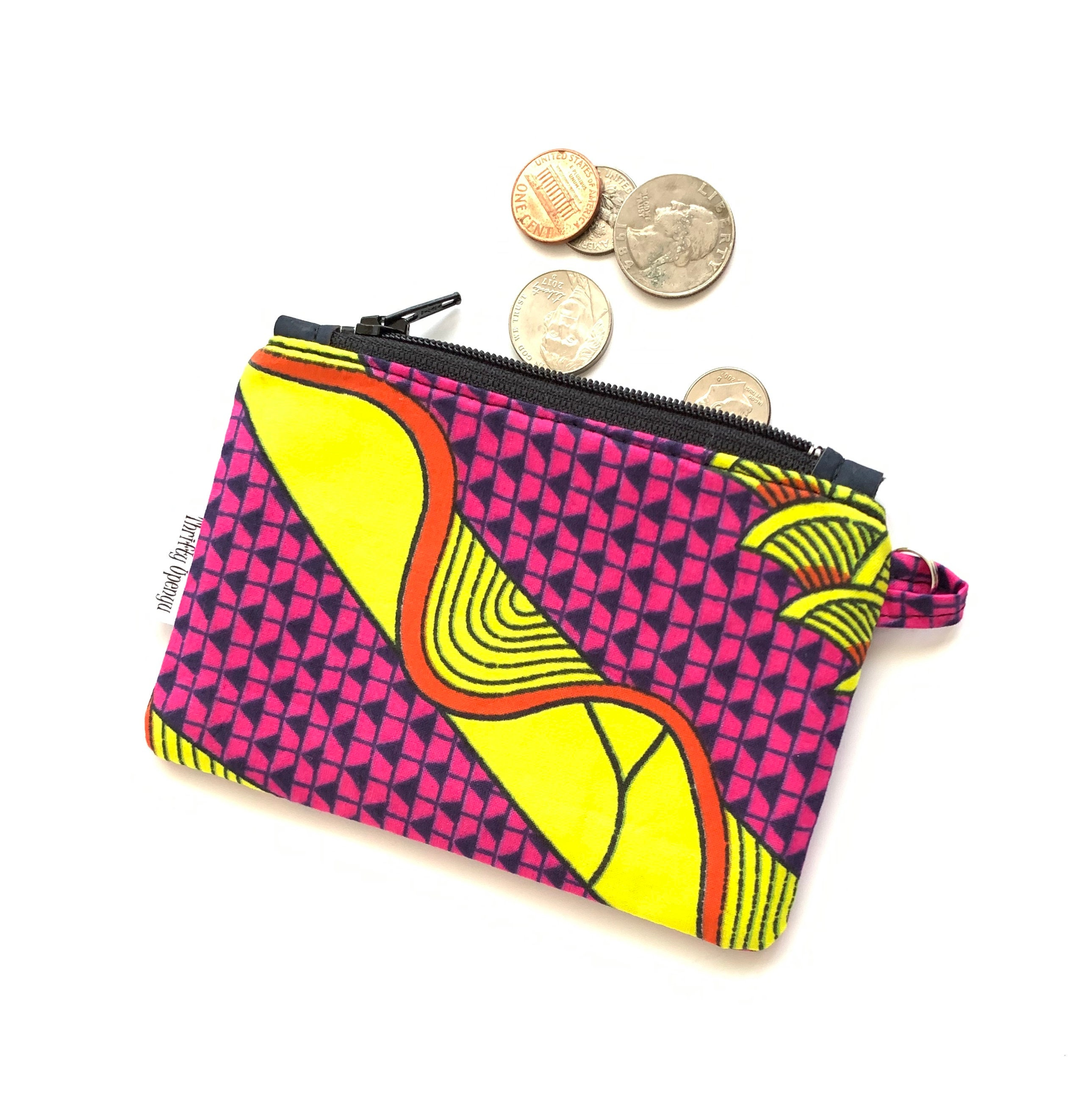 Kilim patterned boho style change pouch Zipper fabric mini coin purse with key ring and lobster claw clasp