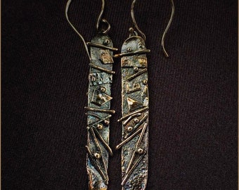 17d36d5c7 Art Jewelry 22 k Gold and Sterling Silver Bar Dangle Mixed Metal Earrings  Mixed Metal Dangles