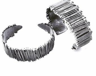 14b48a010 Oxidized Sterling Silver Picket Cuff (Smaller of the two pictured) One of A  Kind Art Jewelry Made to Order