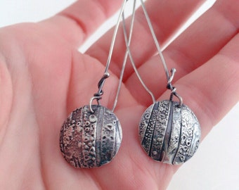 ce6b6a783 Fused Sterling Silver Sculptural Dangle Organic Earrings Made to Order  Highly Textured Available at Janes Art Center