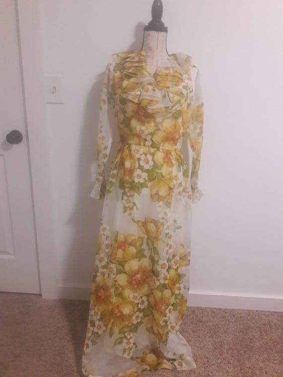 Toni Todd 70s vintage floral maxi dress