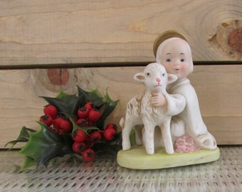 Vintage Angel Lamb Figurine Etsy