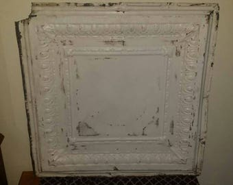 """VIntage Chippy paint metal ceiling tile 24"""" x24"""" with a small cut out corner"""