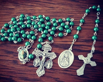 St Jude Swarovski pearl rosary with chaplet