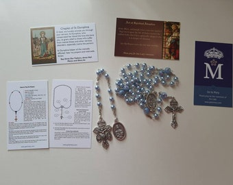 St Dymphna Swarovski blue pearl rosary and chaplet
