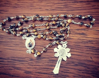 Our Lady of Mt Carmel rosary with tiger eye beads and St Benedict cross