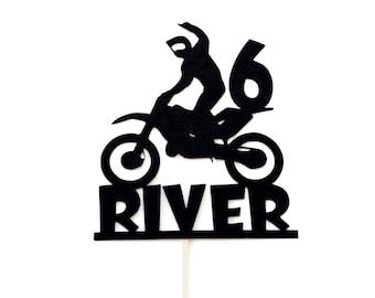 Motocross Dirt Bike Birthday ~ Edible 2D Fondant Cake Cupcake Topper ~ D21753 *