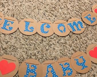 Welcome baby banner, baby shower banner, baby shower sign, welcome baby sign, customized welcome baby banner, baby birthday banner