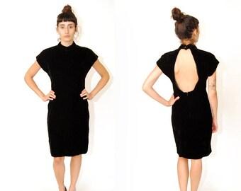 OPEN BACK DRESS (10) vintage 80s velvet keyhole bodycon bandage skinny slim  fit small black short sleeve mock turtleneck 1980s 90s 1990s 693743857c