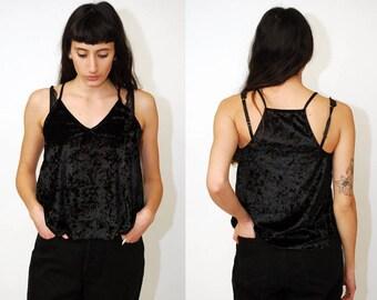 592732c0e4e0c VELVET CAMI TOP (S M) vintage 90s spaghetti strap tank top vest sleeveless  women black small medium lingerie sleepwear sleep wear goth 1990s