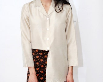 b684851e31be7 vintage SILK BLOUSE (M) off white 90s button up down beige tunic shirt top  women medium loose fit baggy stone gray minimalist solid plain