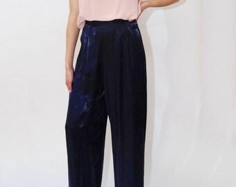 7cb009a5 HIGH WAIST TROUSERS (6) vintage 80s purple shiny pleat pants slacks women  wide leg palazzo sharkskin blue loose fit party festival rayon 90s