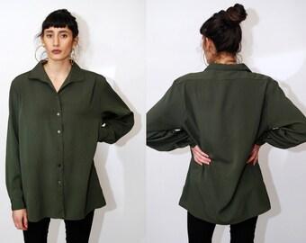efc4f87246ecc8 90s BUTTON UP SHIRT (14) vintage dark green blouse long sleeve ribbed  stripe textured xl large minimal women minimalist down oxford collar