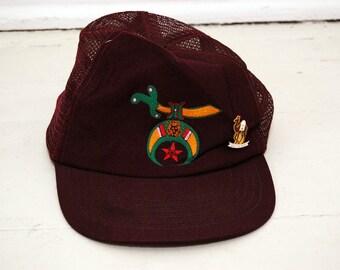 vintage SHRINERS HAT snapback 90s cap trucker embroidered logo freemason  sons of the desert dark red burgundy crimson fraternity egypt a8647b8e84c3