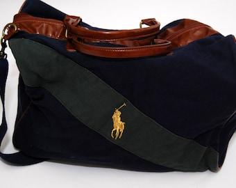 299998bf94 RALPH LAUREN BAG vintage 90s polo luggage weekend travel navy blue green  stripe leather sport co jeans side messenger cross body shoulder