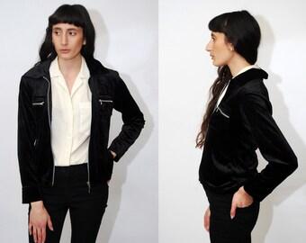 90s VELOUR JACKET (S) vintage black zip up track women small velvet  harrington goth grunge raver rave club kid minimalist cyber digital 2000 34d39e87e