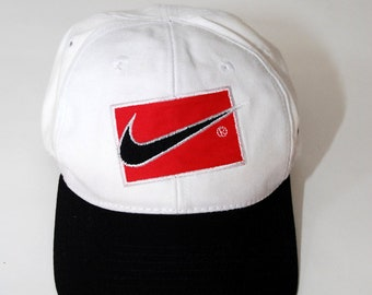 2de334c8 ... shopping nike hat vintage 90s white cap snapback embroidered patch just  do it white black swoosh ...