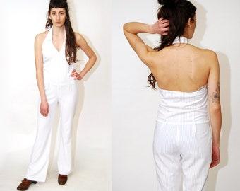 a295c181d2b4 DISCO JUMPSUIT (M) vintage 90s halter stripe bell bottom pantsuit romper  jump suit romper outfit open back women white medium collar revival