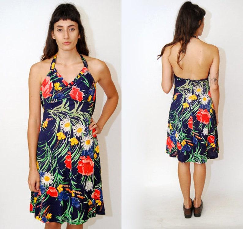 ae9844a60345 Vintage HALTER DRESS S floral print 70s 60s mini hawaiian