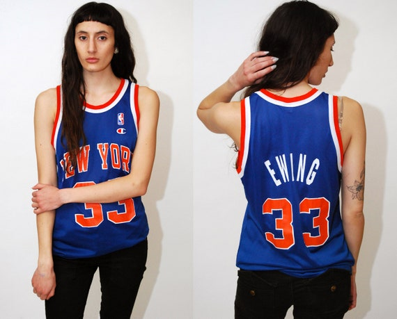reputable site 9815b 13d1b PATRICK EWING JERSEY (S) vintage 40 champion 90s new york knicks nyc city  33 shirt tank top small men women blue orange retro throwback 1990