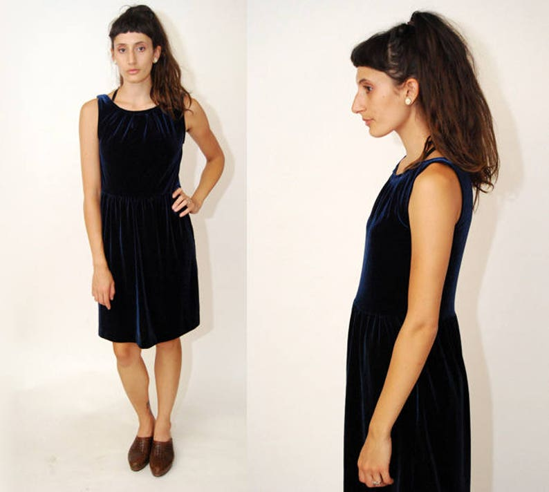 ce2f26bc1b17 Vintage Velvet Dress XS dark blue 90s drop waist mini shiny | Etsy
