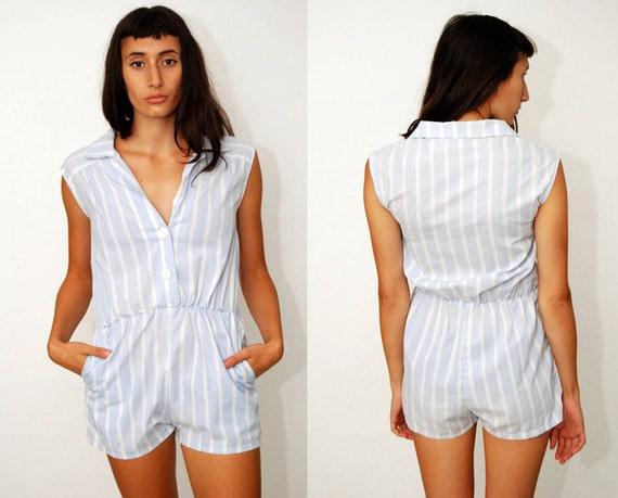 4c67303d8f6 vintage STRIPED ROMPER M L light white 90s Playsuit jumpsuit