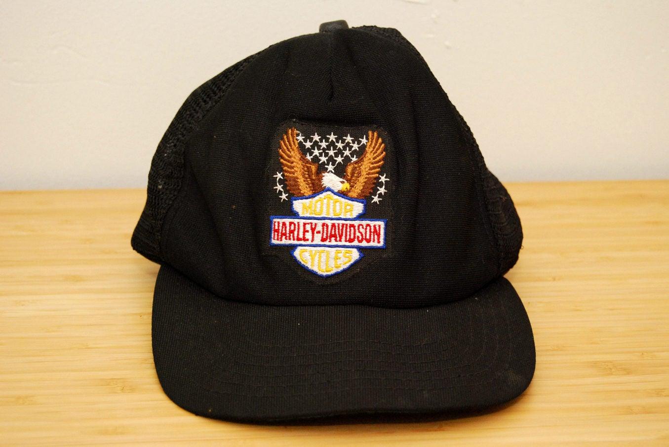 deae551d6 HARLEY-DAVIDSON HAT vintage 80s black trucker mesh cap snapback snap back  biker motorcycle patch embroidered logo bald eagle 90s 1980s 1990s