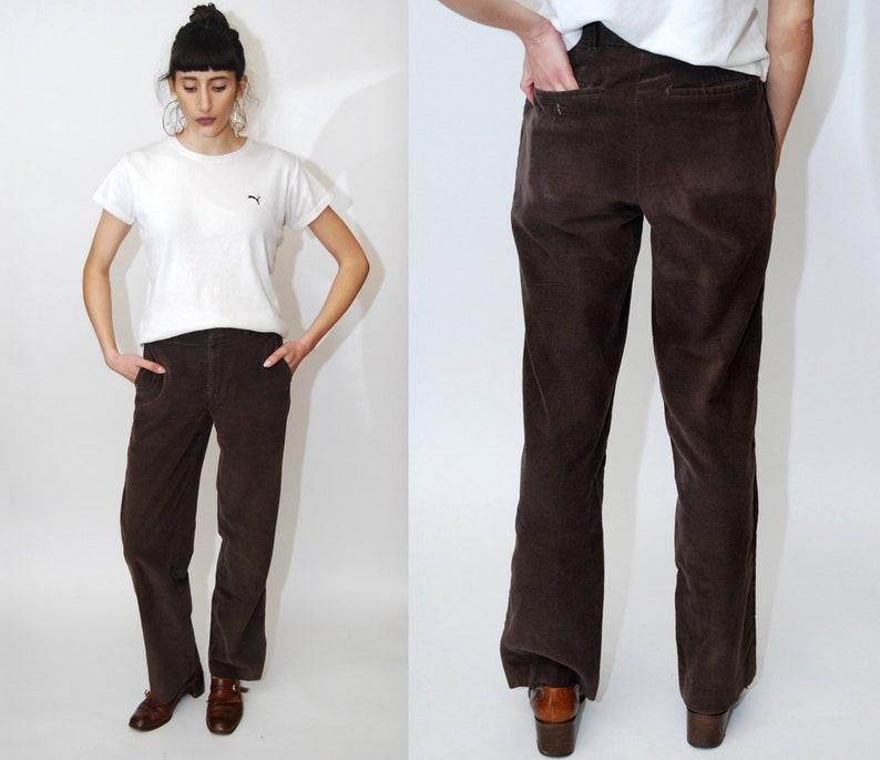 70s CORDUROY PANTS 28 Vintage Dark Brown Cord Trousers