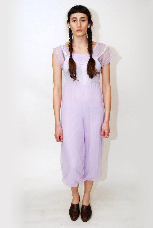 LINGERIE JUMPSUIT S vintage 70s violet purple nylon onesie harem jumper playsuit play jump suit romper lace sheer off shoulder genie witch