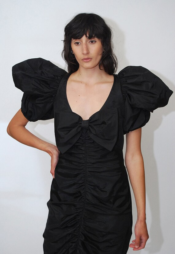 80s Prom Dress (S) vintage black ruffle pleat puf… - image 5