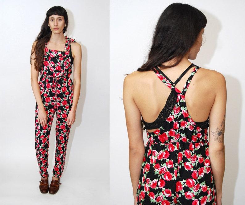 e7bd1ec698a FLORAL JUMPSUIT M vintage 90s rose print floral pantsuit