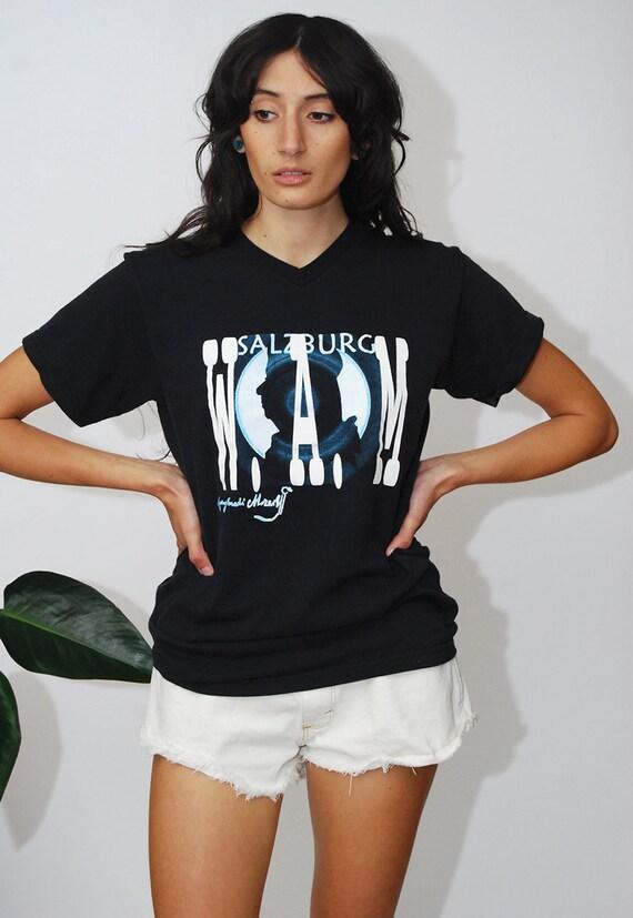 90s Mozart T-shirt (M) vintage black classical mus