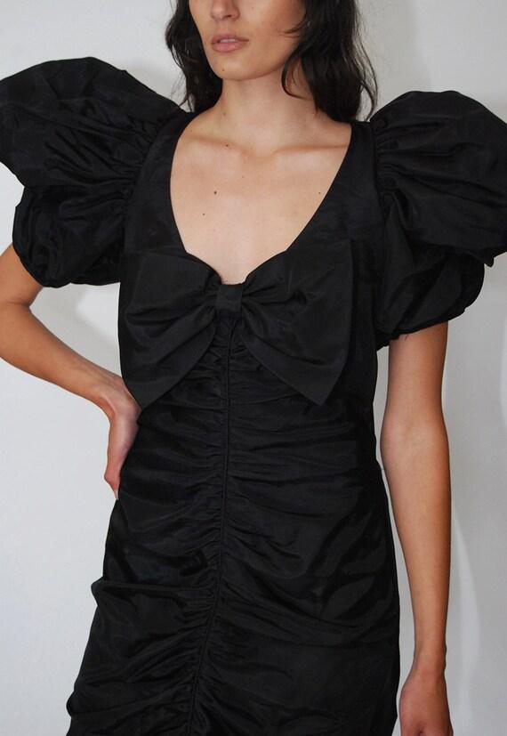 80s Prom Dress (S) vintage black ruffle pleat puf… - image 6