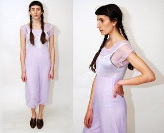 LINGERIE JUMPSUIT (S) vintage 70s violet purple nylon onesie harem jumper playsuit play jump suit romper lace sheer off shoulder genie witch