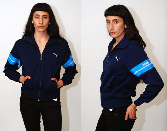 20e1c3632602 PUMA TRACK JACKET S vintage 80s navy blue spellout spell out