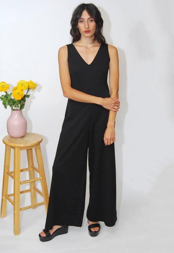 Wide Leg Jumpsuit (M) vintage 70s black palazzo pa