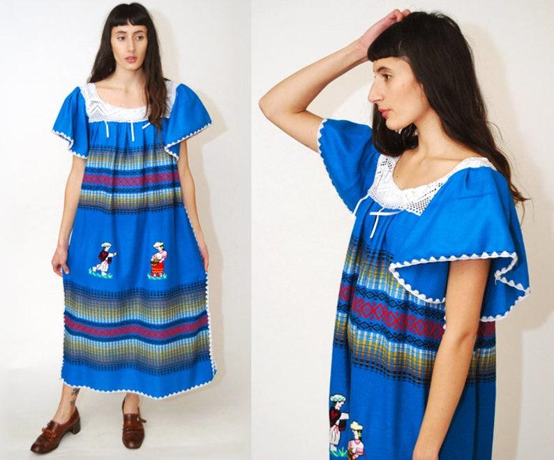 9af290477774d Vintage MEXICAN DRESS geometric print 70s southwestern