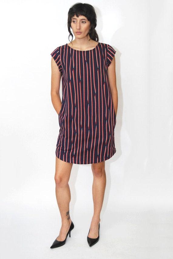 vintage SHIFT DRESS (S/M) navy blue 90s stripe abs
