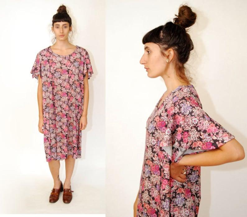 c0870c760 FLORAL CAFTAN DRESS black 70s mini midi gown short sleeve | Etsy