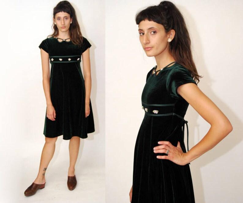 60f3817c8 VELVET BABYDOLL dress XS dark green 90s vintage mini floral