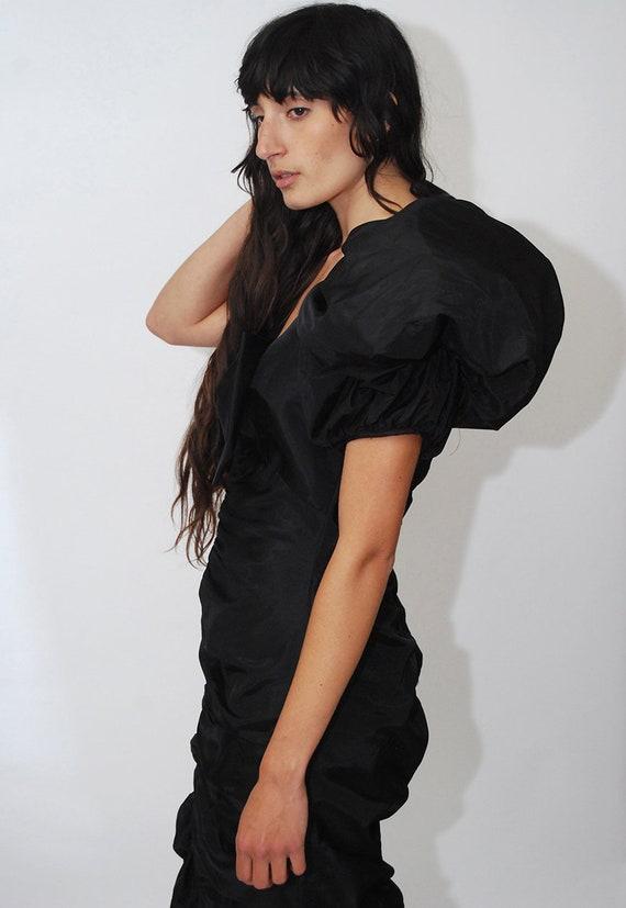 80s Prom Dress (S) vintage black ruffle pleat puf… - image 7