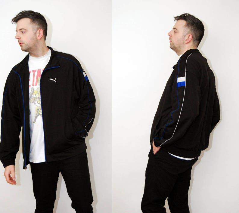 VESTE de jogging PUMA (2XL) des années 90 bande zip bleu blanc noir 2 x xxl hommes brodé sportswear streetwear sport portée rue oversize